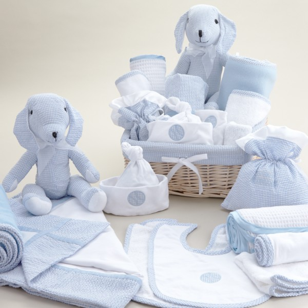 Deluxe New Baby Boy Basket - 11 Piece