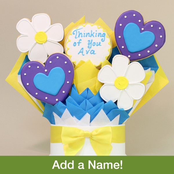 Hearts & Flowers Thinking Of You Cookie Bouquet- 5 Piece