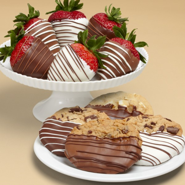 4 Dipped Cookies And Half Dozen Swizzled Strawberries