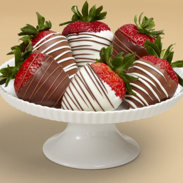 Half Dozen Gourmet Dipped Swizzled Strawberries Covered in Chocolatey Goodness