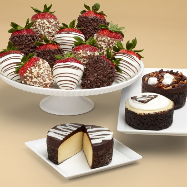 Cheesecake Trio & Dozen Fancy Chocolate Chip Covered Strawberries