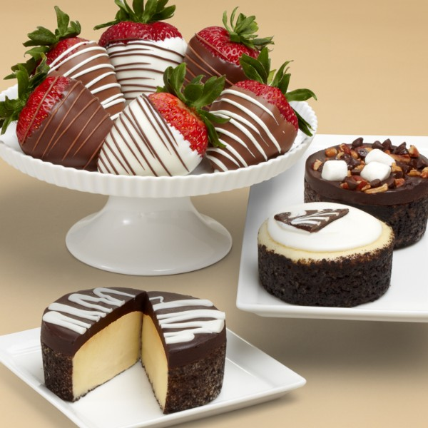 Cheesecake Trio And Half Dozen Swizzled Strawberries