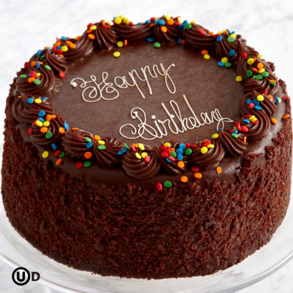 Three Layer Chocolate Happy Birthday Cake
