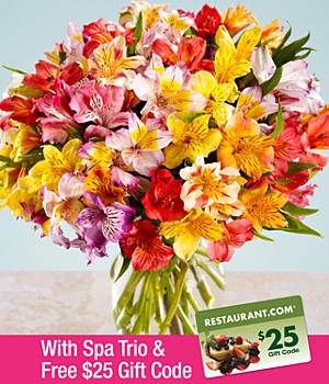 ProFlowers - 100 Blooms of Peruvian Lilies, Spa Trio, & FREE $25 Restaurant.com Gift Code