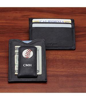 baseball money clip wallet - yankees