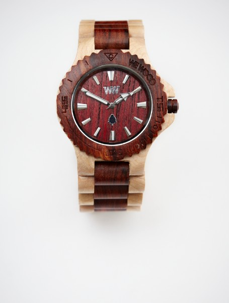 two tone natural wooden watch