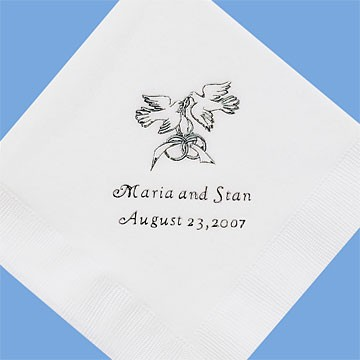 Personalized Wedding Cocktail Napkins - Set of 50,White, Doves - Wedding Gift