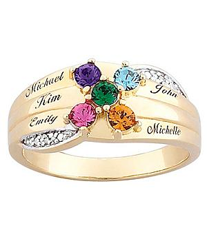 Gold Over Sterling Silver Family & Birth Stone Ring with Diamond