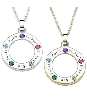 Gold over Sterling Silver Family Name Birthstone Disc Pendant