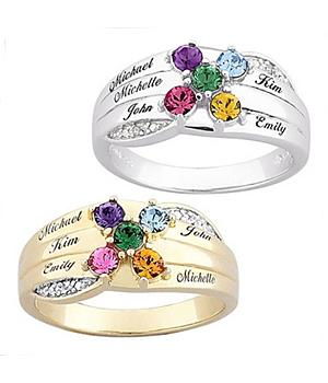 Family Name Birthstone & Diamond Ring