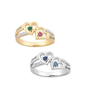 14K over Sterling Silver Couples' Heart Birthstone/Name Diamond Ring