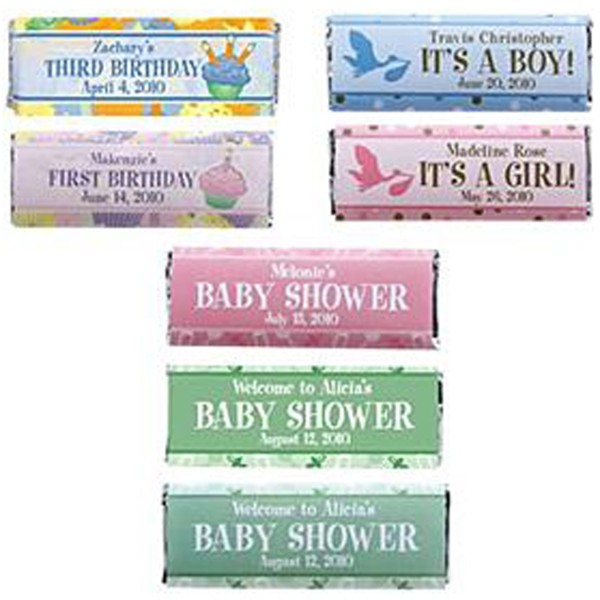 Personalized Baby Shower Candy Bar Wrappers (set of 30)-Green - New Baby Gift