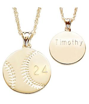 Engraved Gold Plated Baseball Pendant