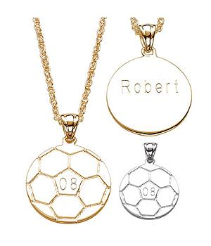 Engraved Personalized Soccer Pendant
