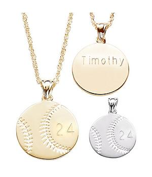 Engraved Personalized Baseball Pendant