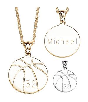 Engraved Personalized Basketball Pendant