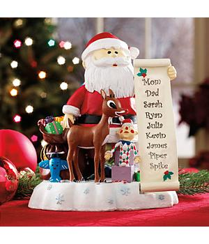 Christmas Decorations - Personalized Rudolph and Santa with List Statue Figurine