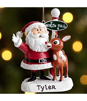 Christmas Ornaments Personalized Rudolph and Santa Letter and Ornament