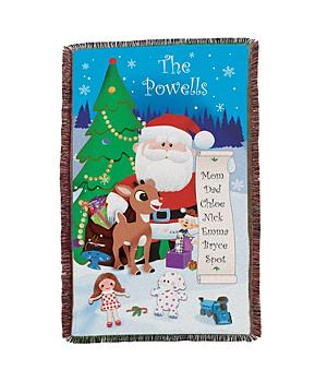 Personalized Rudolph the Red Nosed Reindeer and Santa Throw