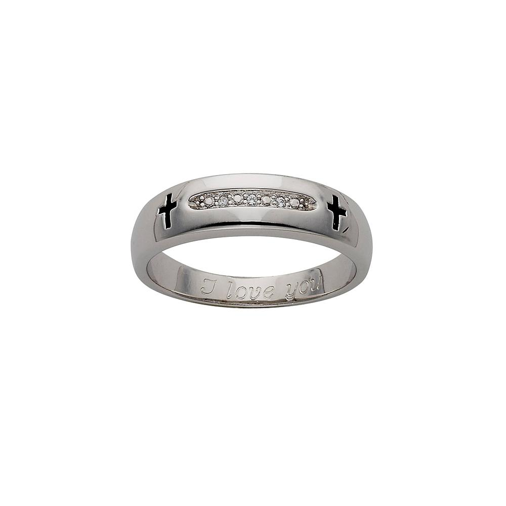 Personalized Unisex Diamond Wedding Band with Cross - Religious Gifts - Wedding Gifts