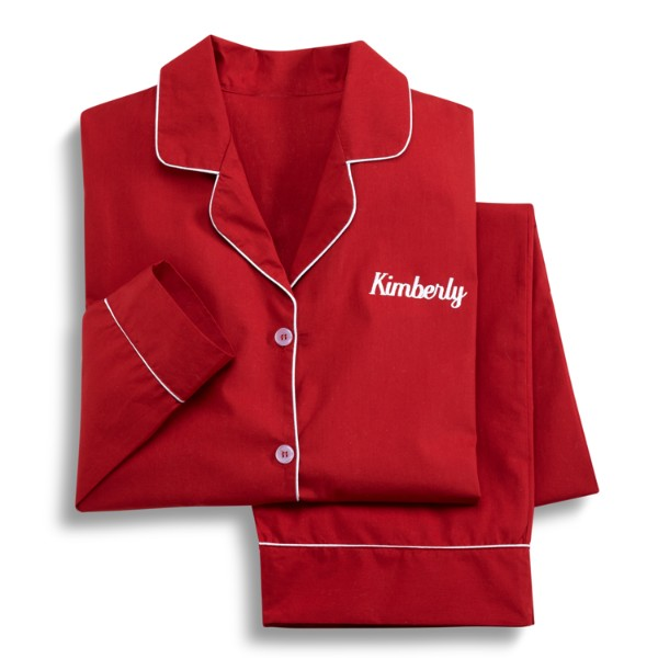 Personalized Adult Womens Red Pajamas - S