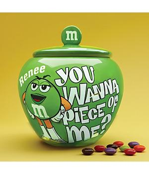 Personalized M & M Candy Jar - Green