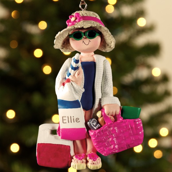 Personalized Beach Lady Ornament - Caucasian