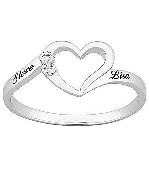 Top-Engraved Sterling Silver Diamond