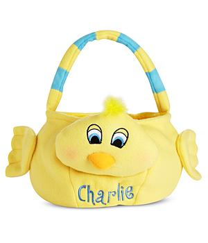 Personalized Plush Easter Basket - Chick