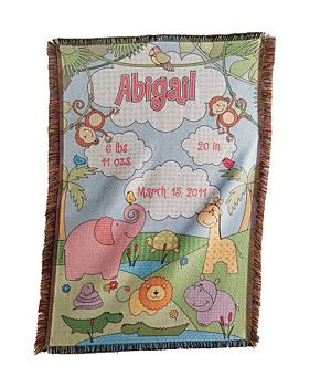 Baby Information Jungle Throw - Pink