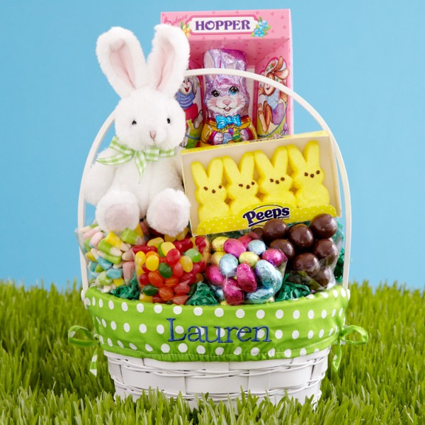 Personalized Deluxe All-in-One Green Easter Basket