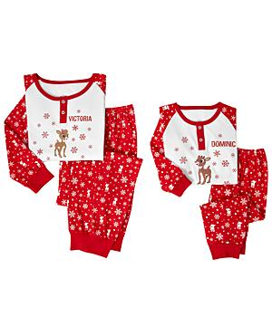 Personalized Christmas the Red Nosed Reindeer and Clarice - Kids Pajamas