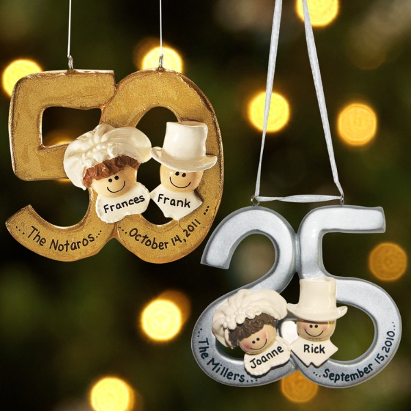 Personalized 25th and 50th Wedding Anniversary Ornament - Wedding Gift