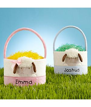 Personalized Easter Basket - Baby's First Easter Lamb Baskets