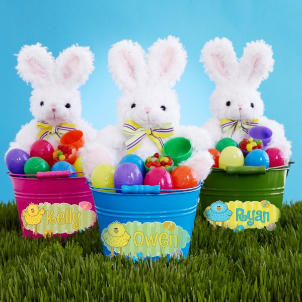 Personalized Easter Bunny Egg Hunt Bucket Set