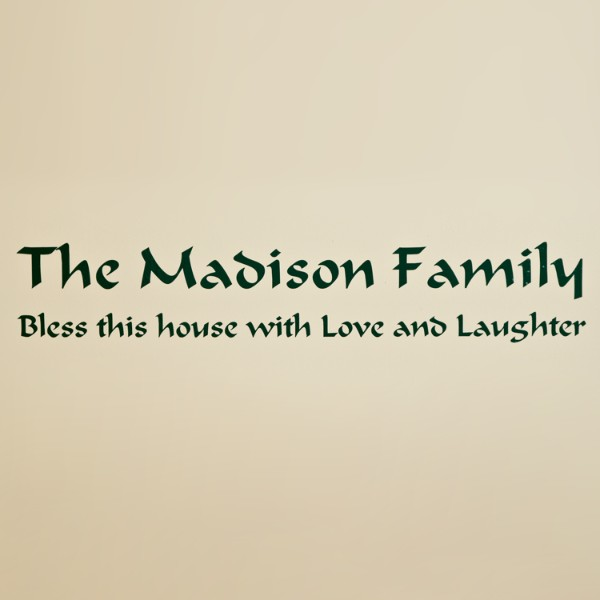 Personalized Family Vinyl Wall Art - 5 x 30 - Forest Green
