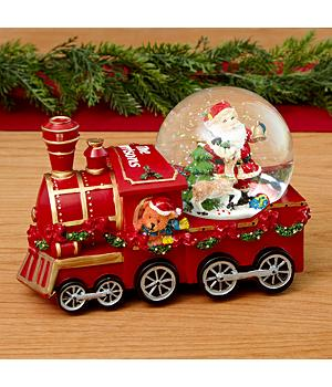 Santa Snowglobe Train Figurine