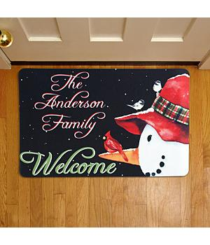 Personalized Snowman and Cardinal Doormat