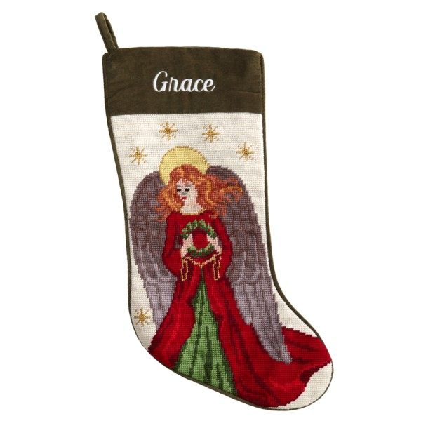 Personalized Needlepoint Stocking - Angel
