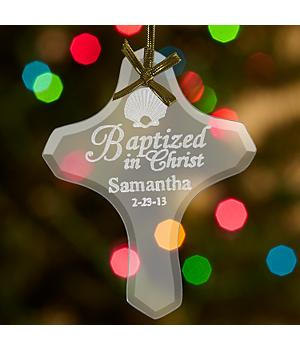 Baptism Glass Cross Ornament