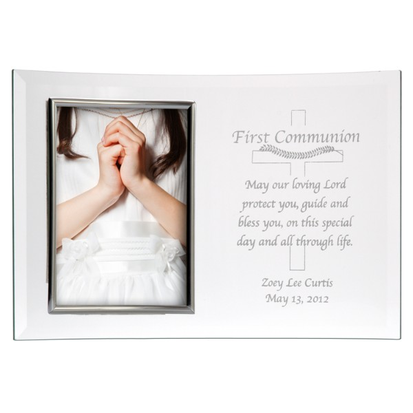 Personalized Beveled Glass Frame-3 1/2x5-1st Communion-Silver - Communion Gift