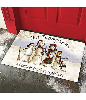 Snowmen Stick Family Doormat
