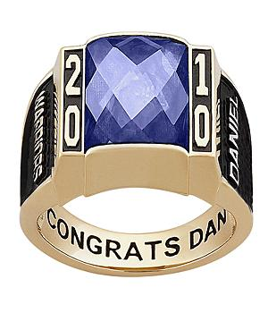 Men's Yellow Celebrium Traditional Deco Birthstone Class Ring