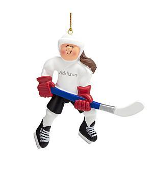 Hockey Player Ornament - Female Caucasian Brunette