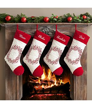 Holiday Berry Wreath Stocking