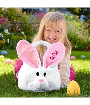 Large Plush Bunny Basket