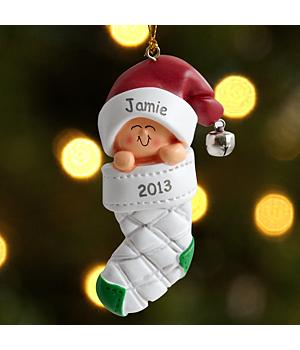 Baby in Stocking - Caucasian Ornament