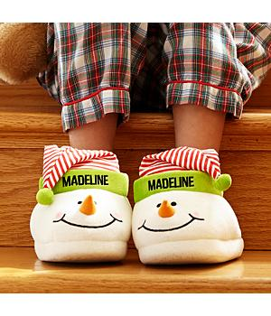 Christmas Snowman Slippers for Girls - Personalized