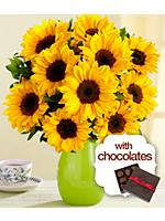 Deluxe Birthday Sunflower Radiance with Green Vase & Chocolates