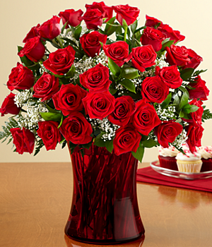 Three Dozen Long Stemmed Red Roses with Free Ruby Vase